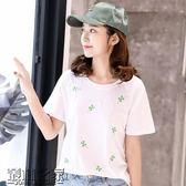 雙十二狂歡購夏季白色t恤女短袖寬鬆韓版學生百搭ulzzang半袖上衣夏裝2018新款