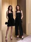 2020夏新款韓版 單排扣黑色吊帶閨蜜裝連身褲女 休閒連體闊腿褲