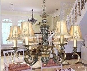 設計師美術精品館歐式燈飾古典吊燈六頭客廳燈餐廳燈臥室燈布藝燈罩樹脂雕花