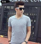 短袖男士t恤純色v領打底衫Y-3581