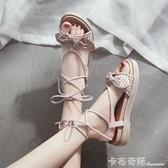 復古港味chic軟妹涼鞋夏季新款鬆糕厚底羅馬學生百搭仙女鞋子 卡布奇諾
