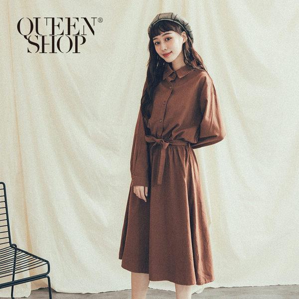 Queen Shop【01084737】附綁帶腰鬆緊設計洋裝 兩色售*現+預*