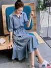 熱賣雪紡洋裝 2021新款法式雪紡連身裙女夏收腰顯瘦小個子氣質襯衫魚尾中長裙子【618 狂歡】