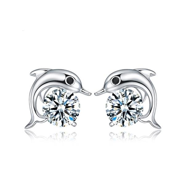 925純銀 海豚 天然白水晶 耳環耳針釘-銀 防抗過敏