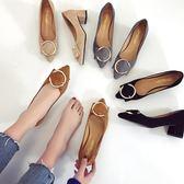 2018早春新款黑色高跟鞋中低跟單鞋女尖頭粗跟5cm高跟鞋中跟女鞋  良品鋪子