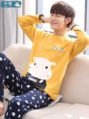 睡衣 睡衣男春秋季純棉長袖卡通冬天薄款睡衣套裝 亞斯藍