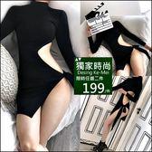 克妹Ke-Mei【AT48372】SPICY辛辣誘惑 側不規則摟空綁帶夜店洋裝