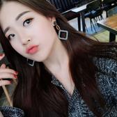 耳環 68336日韓版時尚優雅氣質OL黑白千鳥格長款方框耳環耳墜女D507快時尚