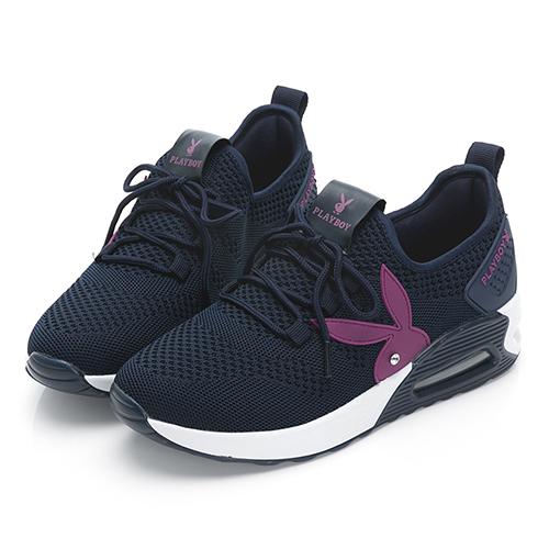PLAYBOY 舒適主打 針織綁帶氣墊休閒鞋-藍紫(Y6238)