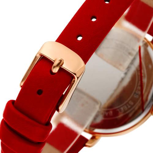 JOSERINEA 甜美佳人皮革時尚腕錶-紅/33mm