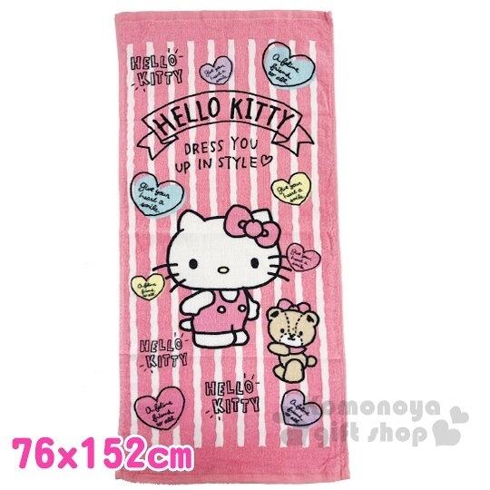 〔小禮堂〕Hello Kitty 純棉割絨大浴巾《粉白.直紋》76x152cm.毛巾 4713218-89727