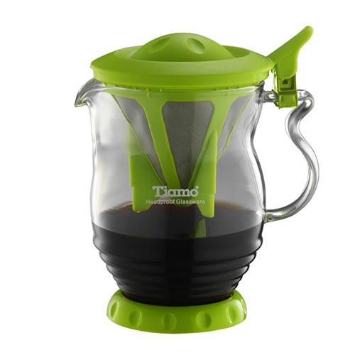 金時代書香咖啡 Tiamo 極細濾網 分享壺 350ml 綠色