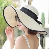沙灘帽女 夏天沙灘草帽子女韓版潮海邊大帽檐防曬遮陽太陽度假百搭大沿涼帽 小衣裡