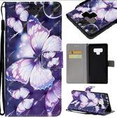 紫蝴蝶3D彩繪 Note8 防摔手機殼 手機保護套 三星 S8 翻蓋皮套 S8 Plus 手機殼 防摔彩繪保護皮套