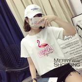 鶴印花文字短袖T恤-媚儷香檳-【D1294】