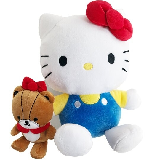 小禮堂 Hello Kitty 絨毛玩偶 絨毛娃娃 小玩偶 布偶 (S 藍 抱小熊) 4901610-49015