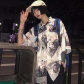 2019春夏新款韓版ins原宿風BF個性時尚童趣印花寬松短袖襯衫男女