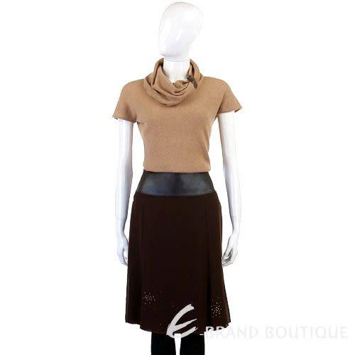 G.I.O.I 咖啡色皮革拼接紗質及膝裙 0510278-07