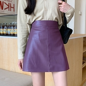 A字裙 小皮裙女2020新款黑色紫色夏天薄款高腰A字ins秋冬短裙包臀半身裙