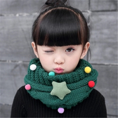 保暖兒童圍巾秋冬季韓版男童女童針織毛線脖套寶寶滿天星卡通圍脖 潮流