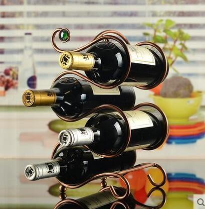 設計師美術精品館創意紅酒架 鐵藝擺件葡萄酒架子 時尚酒瓶架 歐式家居多瓶裝