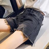 灰色牛仔短褲女高腰a字顯瘦2021年春夏韓版外穿破洞寬鬆闊腿熱褲【快速出貨】