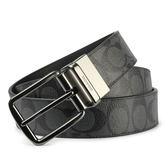 COACH滿版大C紋路皮革穿式皮帶(黑灰色)196172-1