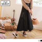 《KG0969-》高含棉雙層素色拼接網紗腰鬆緊中長裙(附腰帶) OB嚴選