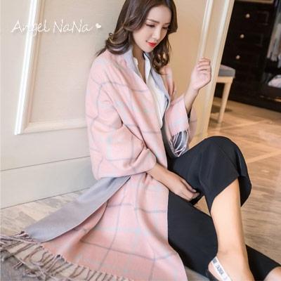 圍巾披肩-韓版仿羊絨優雅雙色雙面格子保暖2way女圍巾 (SSA0015)