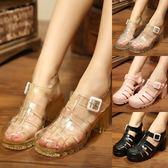好看的雨鞋雨靴/正韓果凍鞋女涼鞋夏透明水晶防滑防水雨鞋塑料羅馬包頭中高跟粗跟