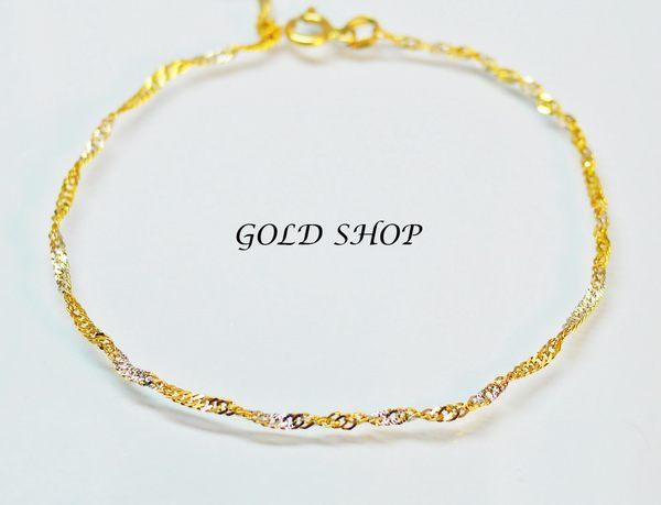 ╭☆ gold shop ☆╯義大利 585 三彩K金 手鍊 [ kb 026 ]-0.38