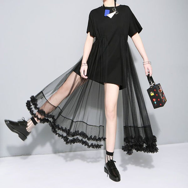 洋裝 韓版純棉拼接蕾絲花邊網紗休閑連衣裙DK STORE
