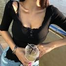 低胸上衣 韓版夏季新款浪漫優雅性感低胸上衣半開領螺紋五分袖T恤女裝