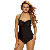 泳裝 比基尼 泳衣 撞色 拼接 吊帶 褶邊 綁帶 兩件套 繞頸 泳裝 L-3XL【LC410037】 icoca  05/31