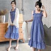 漂亮小媽咪 兩件式【DS8233】 罩衫十長裙 甜美 格紋 無袖 長洋裝 孕婦裝 荷葉洋裝 魚尾裙