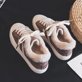 女韓版百搭加絨毛毛鞋平底休閒鞋保暖板鞋  伊衫風尚