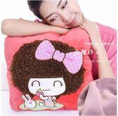 卡通空調被抱枕被子兩用大號靠墊毯子珊瑚絨法萊車用抱枕毯午睡枕(西瓜紅摩絲 - 紫毯)