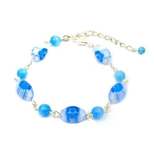 土耳其藍琉璃花蛋型與貓眼珠手鍊