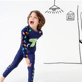 恐龍插肩防曬長袖泳裝+長褲 二件式 水母衣 寶寶泳衣聖誕 橘魔法 玩水褲 現貨 童 泳衣 兒童