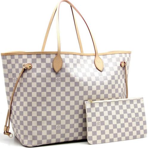 茱麗葉精品 全新精品Louis Vuitton LV N41360 NEVERFULL GM 白棋盤格紋子母束口購物包.大(預購)