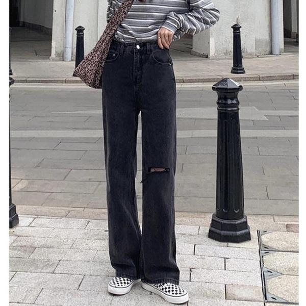 春季2021年新款高腰顯瘦破洞牛仔褲ins女潮學生寬鬆百搭直筒褲子 韓國時尚週 免運