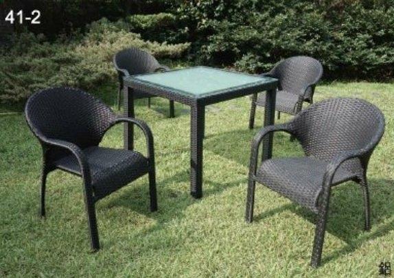 【南洋風休閒傢俱】戶外休閒桌椅系列-編藤休閒餐桌椅組 戶外鋁餐桌椅組 (HT-337 + HC-324)