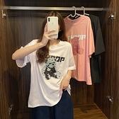短袖上衣 T恤大碼棉衫M-2XL~夏裝新款短袖T恤女寬松大碼卡通字母印花百搭半袖上衣韓版M028快時尚