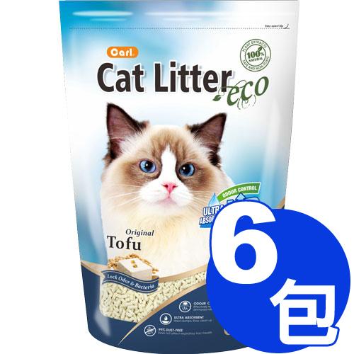 【寵物王國】CARL卡爾-環保豆腐貓砂(原味)6L x6包免運超值組