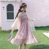 一字領洋裝 2019新款夏裝套裝女裝學生網紗防曬衫雪紡小清新吊帶洋裝兩件套『鹿角巷』