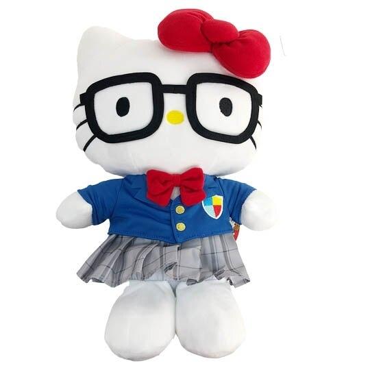 小禮堂 Hello Kitty 絨毛玩偶 絨毛娃娃 布偶 (M 藍灰制服) 4901610-17584