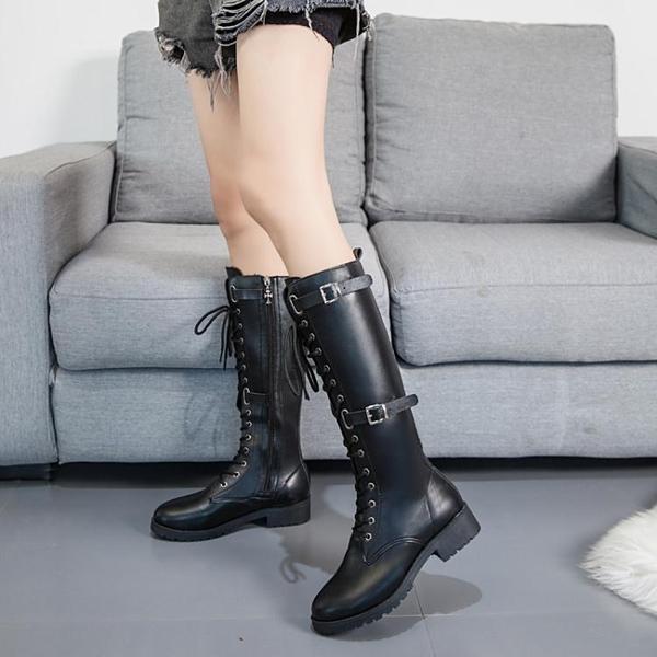 快速出貨 長靴馬丁靴子女秋款皮靴韓版長筒靴長靴靴平底騎士靴繫帶長靴