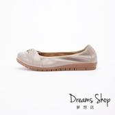 大尺碼女鞋-夢想店-MIT台灣製簡約素面雙結款牛皮蛋捲平底鞋2.5cm(41-45)-可可【PW2019】