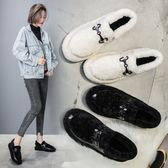 毛毛鞋女2018冬季新款同款一腳蹬平底加絨棉鞋懶人豆豆鞋瓢鞋 居享優品