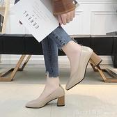 法式小高跟單鞋女2020春款中跟粗跟復古方頭溫柔鞋仙女軟皮奶奶鞋 開春特惠